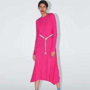 NWT ZARA LONG BELTED FUCHSIA FUN DRESS